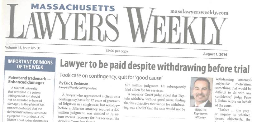 Steven J. Bolotin on the frontpage of Lawyers Weekly